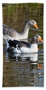 Geese On The Canal   Beach Towel