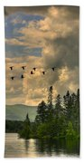 Geese Over Jericho Lake Beach Towel