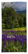 Geese Over Lupine Field Beach Towel
