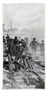 Gen Shermans Troops Destroying Railroad Before The Evacuation Of Atlanta - C 1864 Beach Towel