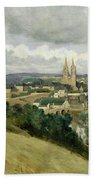 General View Of The Town Of Saint Lo Beach Towel by Jean Corot