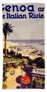 Genoa And The Italian Rivera Vintage Poster Restored Beach Towel