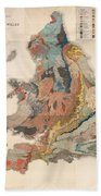 Geological Map Of England And Wales - Historical Relief Map - Antique Map - Historical Atlas Beach Towel