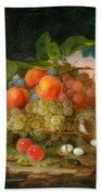 George Forster  Still Life With Fruit And A Birds Nest Beach Towel