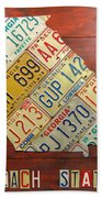 Georgia License Plate Map Beach Towel