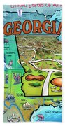 Georgia Usa Cartoon Map Beach Towel