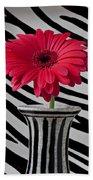 Gerbera Daisy In Striped Vase Beach Towel