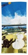 German Paratroopers Landing On Crete During World War Two Beach Towel