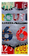 Get Your Kicks On Route 66 Recycled Vintage State License Plate Art By Design Turnpike Beach Towel