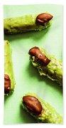Ghastly Green Halloween Finger Food Beach Towel