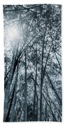 Giant Bamboo In Forest With Sunflare, Black And White Beach Towel
