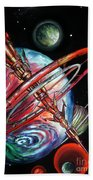 Giant, Old Red Space Shuttle Of Alien Civilization Beach Towel