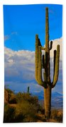 Giant Saguaro In The Southwest Desert  Beach Sheet