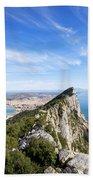 Gibraltar Rock Bay And Town Beach Towel
