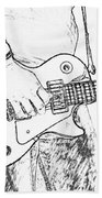 Gibson Les Paul Guitar Sketch Beach Towel