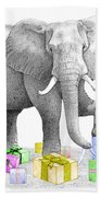 Gift Wrapping Elephant Beach Towel
