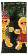 Gingerbread Christmas Ornaments Beach Towel
