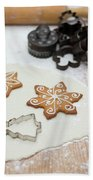 Gingerbread Making - Christmas Preparing With Vintage Kitchen Tools Beach Towel