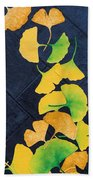 Ginkgo Leaves On Pavement Beach Towel