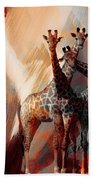 Giraffe Abstract Art 002 Beach Towel