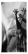 Giraffe Abstract Art Black And White Beach Towel