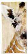 Giraffe Art - Side View Beach Towel