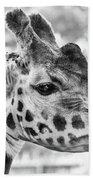 Giraffe Bw Beach Towel