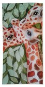 Giraffe Trio By Christine Lites Beach Towel by Allen Sheffield