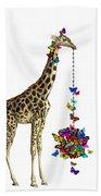 Giraffe With Colorful Rainbow Butterflies Beach Towel