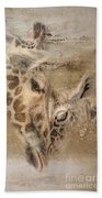 Giraffes, Big And Small Beach Towel