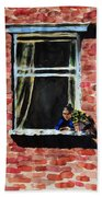 Girl At Window Beach Towel