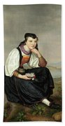Girl From Hessen In Traditional Dress Beach Towel