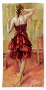 Girl In A Copper Dress IIi Beach Towel