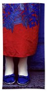 Girl In Colorful Flower Dress Beach Towel