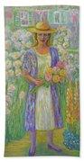 Girl In Monet's Garden At Giverny Beach Towel
