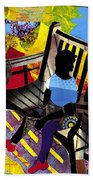 Girl In Red Shoes Beach Towel by Everett Spruill