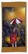 Girl In The Rain  Beach Towel