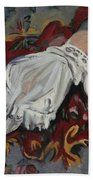 Girl In White Chemise Beach Towel