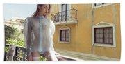 Girl On Balcony Beach Towel