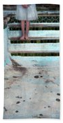 Girl On Steps Of Empty Pool Beach Towel