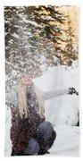Girl Playing In The Snow In The Woods Beach Towel