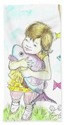 Girl With A Toy-fish Beach Towel