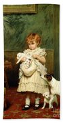 Girl With Dogs Beach Towel by Charles Burton Barber
