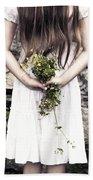 Girl With Flowers Beach Towel