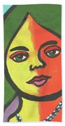 Girl With Necklace Beach Towel