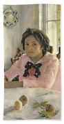 Girl With Peaches Beach Towel by Valentin Aleksandrovich Serov