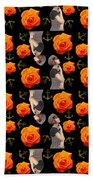 Girl With Roses And Anchors Black Beach Towel