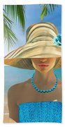 Girl With Summer Hat Beach Towel