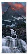 Glacier Morning Waterfall And Moonset Beach Towel