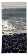 Glistening Rocks And The Ocean Beach Towel